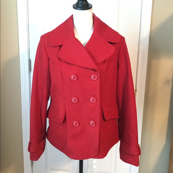 Guess Jackets & Blazers - Guess Wool Blend Red Coat - XL